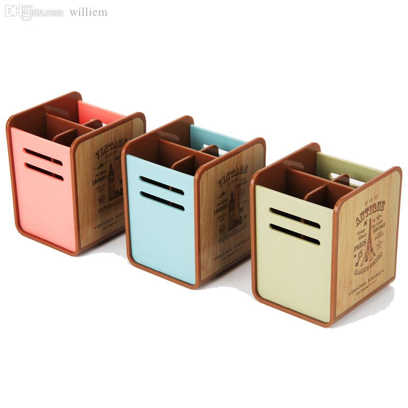 2018 Whole Papeleria Vintage Novelty Pen Holder Desk Stationery Decorative Plastic Containers Storage Box Pencil Pots From Williem