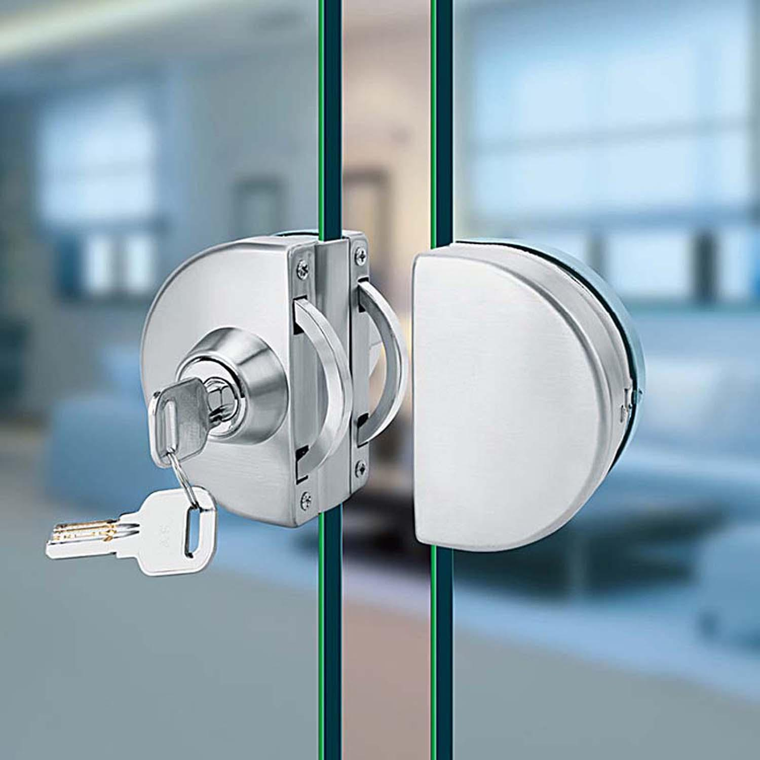 Glass Door Knobs   GD03SS Glass Door Lock Stainless Steel Without Hole  Bidirectional Unlock Key Knob
