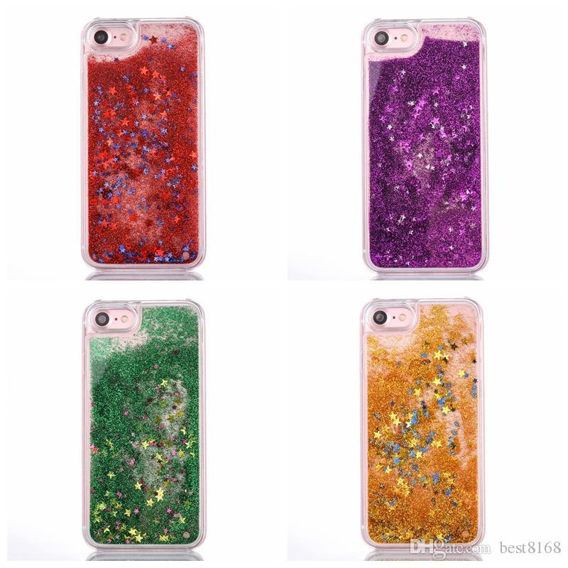 Sparkle Flüssiges Bling Hartplastik + TPU für Iphone XR XS MAX X 8 7 6 Star Pastel PC Dynamische Quickschwimm magische Glitter Covers
