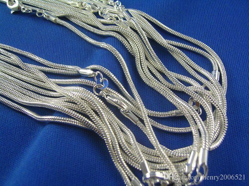 Comercio al por mayor 20 piezas de plata esterlina de 1mm de la serpiente collar de cadena 16inch-24inch