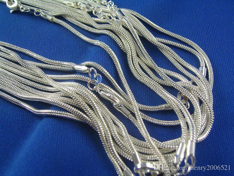 Wholesale Sterling Silver 1mm Snake Chain Necklace 16inch-24inch