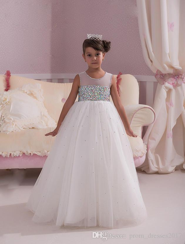 Bela ilusão de 2020 Crianças Formal Festa de Casamento Festa de Chatismo Bead Sparkly Bead Lantejoula Criança Bola Vestidos Cheap Flor Menina Vestidos HY1272