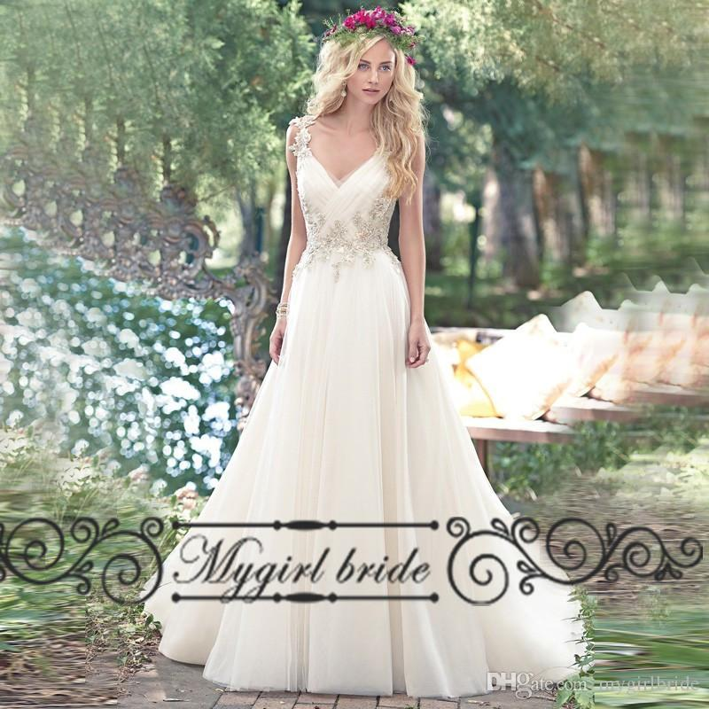 Discount Country V Neck Backless Beach Wedding Dresses 2016 Tulle Beads Crystal Long Bridal Gowns Guest Dress A Line Princess