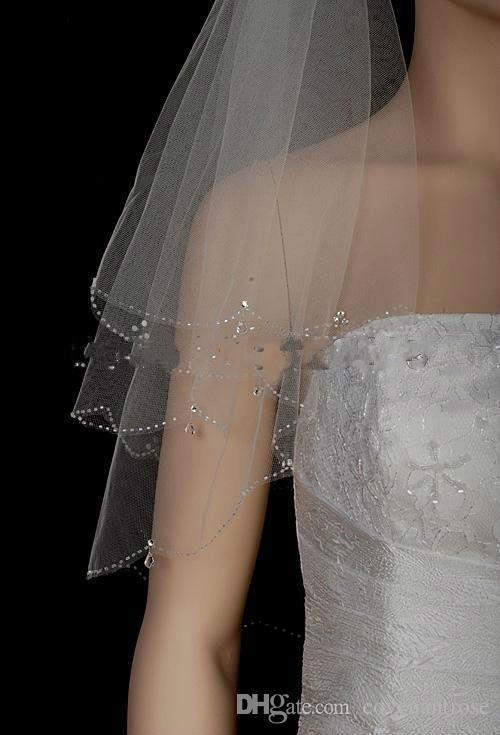 블링 웨딩 베일 크리스탈 신부 높은 품질의 부드러운 얇은 명주 그물 신부 베일 크리스탈 짧은 계층 신부 베일 저렴한
