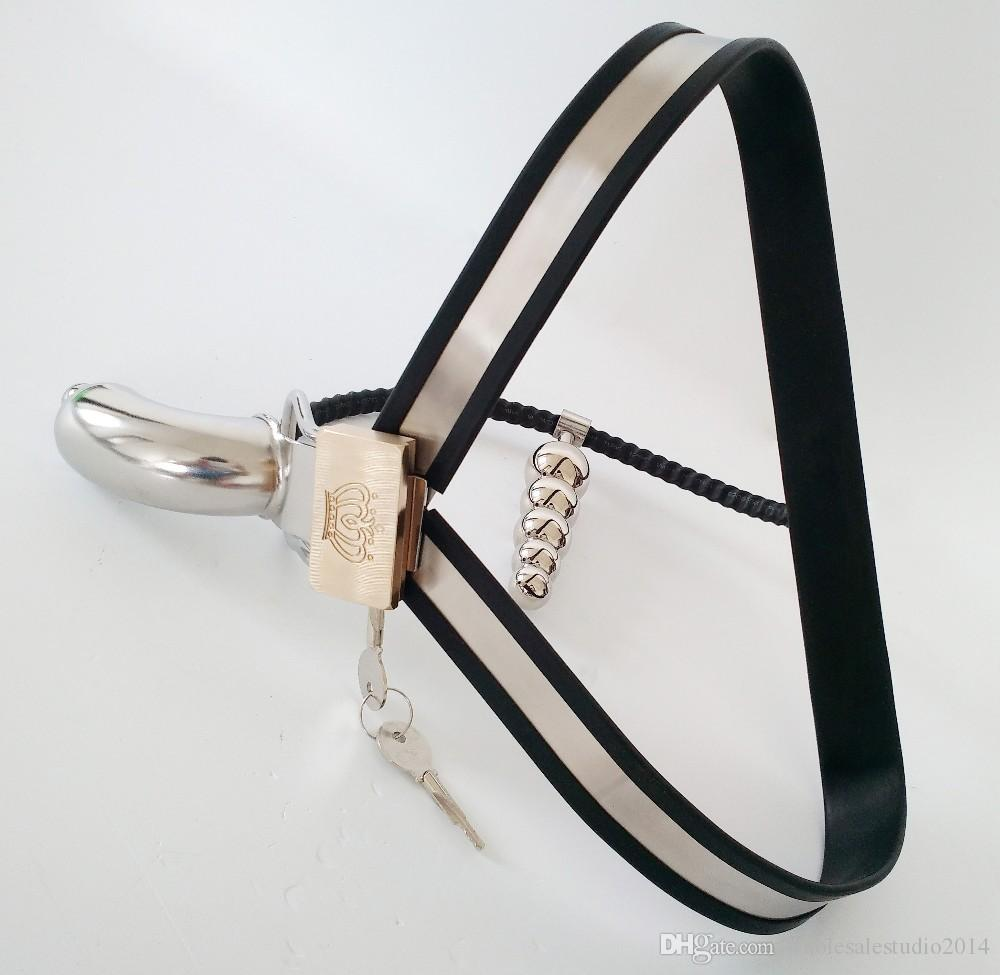 Y-type stainless steel chastity belt panties with anal plug cock cage sex toys for men sm bondage metal chastity belts device