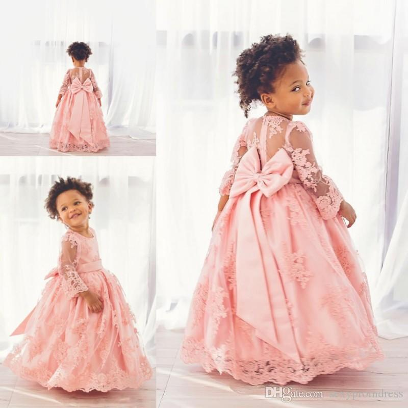 Lovely Pink Lace Ball Gown Baby Communion Dresses Sheer Long Sleeve ...