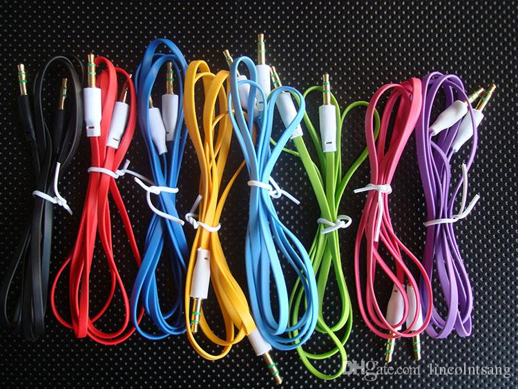 Comercio al por mayor 200 unids / lote 1 M 3 pies 3.5 mm plana Macho a Macho M / M Jack Audio Estéreo Cable Aux Cable Gold Lead PC Adaptador de MP3 cable Metral