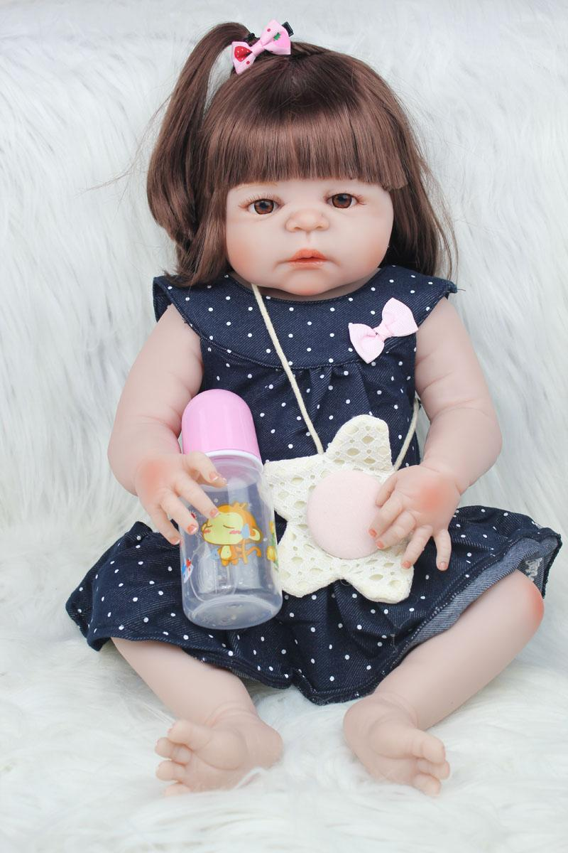 54e6bcc65 55cm Full Body Silicone Reborn Girl Baby Doll Toys 22inch Newborn Princess  Toddler Babies Dolls Bathe Toy Play House Toy Doll Reborn Baby Doll Toys  Doll ...