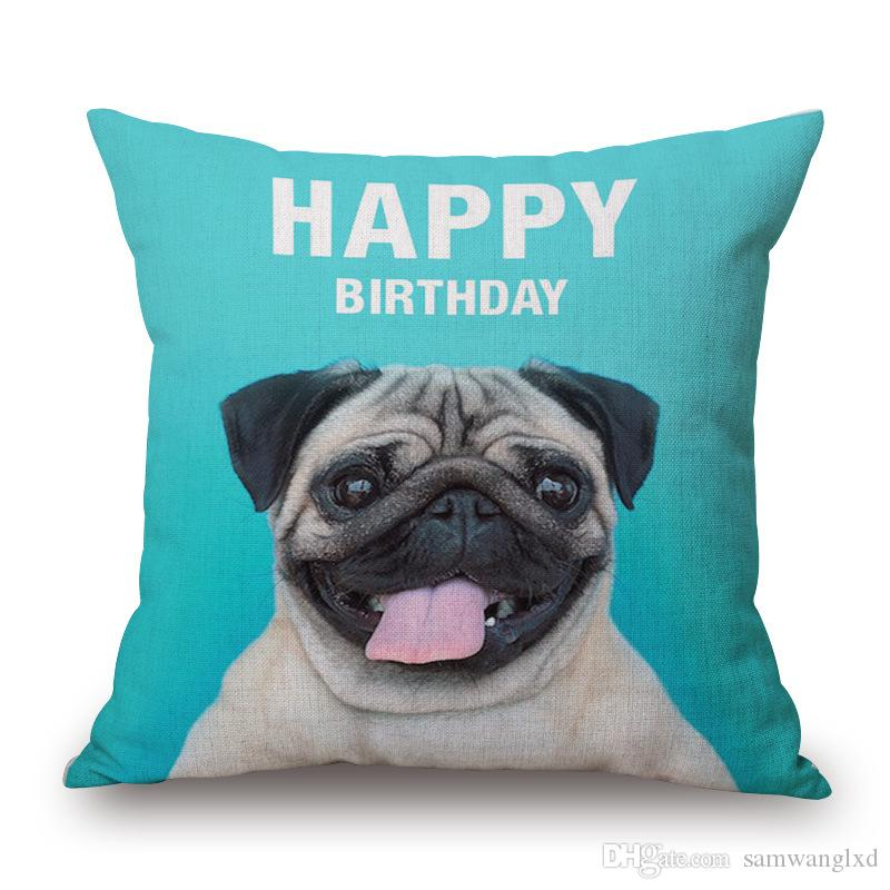 45*45cm Animal Cushion Cover Dog Pug Square Decorative Pillow Covers For Sofa Throw Pillows Car Chair Home Decor Pillow Case almofadas