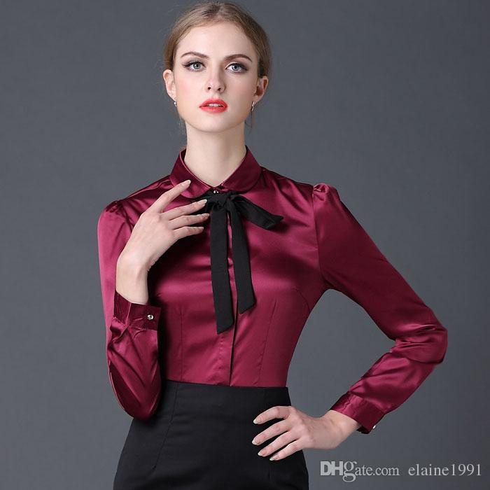 2018 2016 Satin Shirt Women Long Sleeve Peter Pan Collar ...
