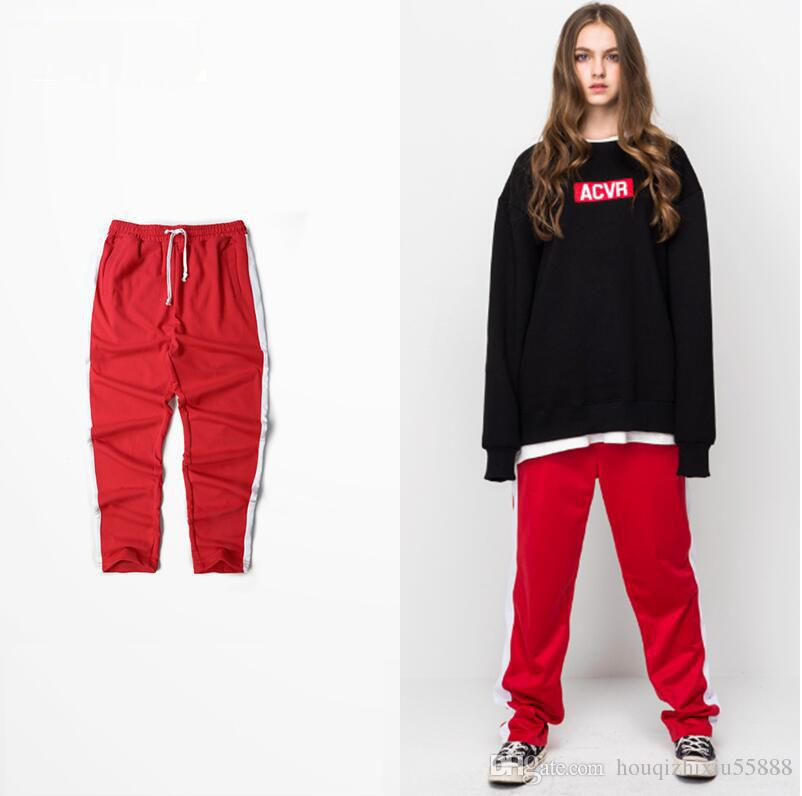 6c57157d69a51 New Hip Hop Fashion Urban Clothing Kanye West Striped Jogger Pants High  Street Skateboard Streetwear Casual Mens Red Sweatpants Online with   56.7 Piece on ...