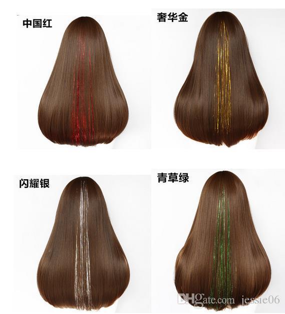 Colorido cabello brillo metálico láser de fibra oropel peluca de pelo postizo de extensión Accesorios Clip de Cosplay de la peluca del partido de eventos Festival de suministros