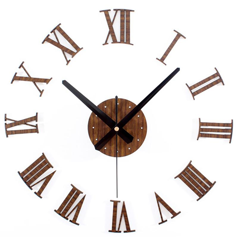 Diy Vintage Wooden Wall Clock Roman Numerals Retro Vinyl Sticker