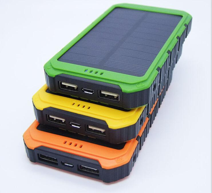 2016 New 20000MAH outdoor polymer Solar Power Bank Solar Charger Ultra-thin Highlight LED Solar Power Banks 2A 1A USB Output