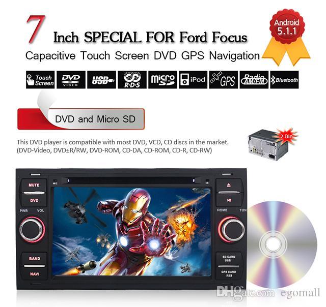Joyous 1024 * 600 2 Din Android 5.1 Reproductor de DVD para auto para Ford Focus Fiesta Fusion Conecte Navegación GPS + Autoradio + Quad Core + Audio Estéreo