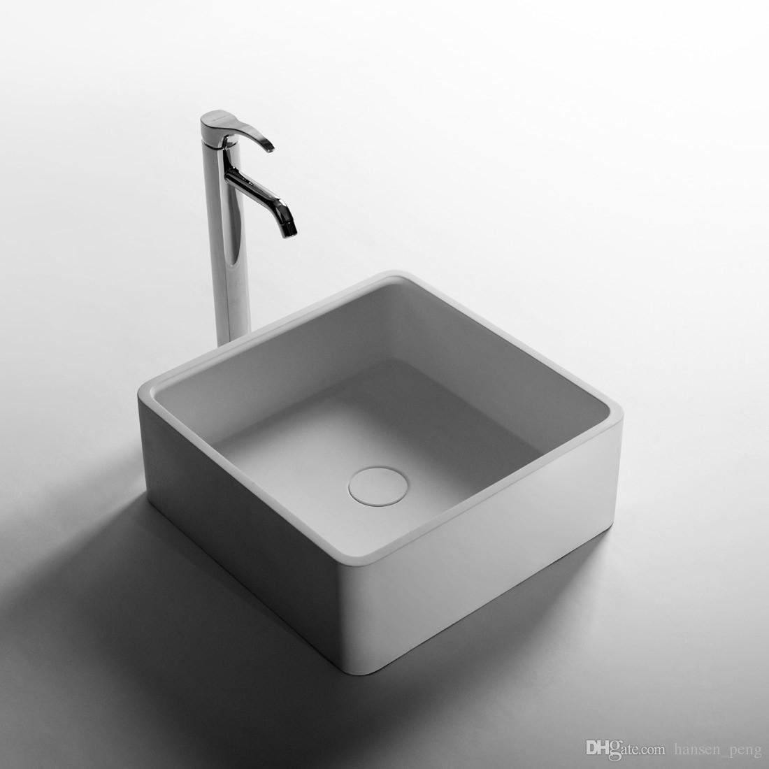 Square Bathroom Solid Surface Stone Counter Top Vessel Sink Fashionable Cloakroom Stone Vanity Wash Basin RS3874-2