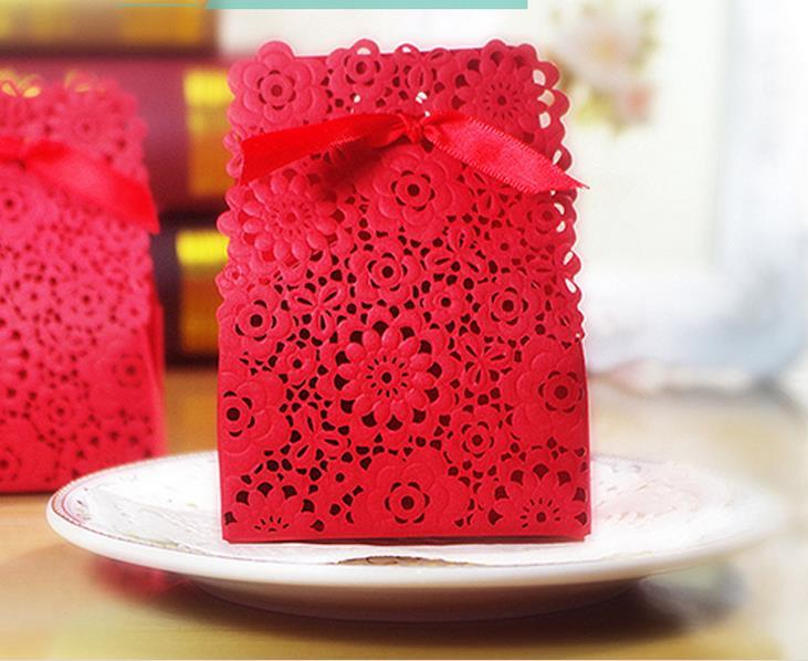 Elegant Paper Hollow Gold Red White Candy Boxes With Ribbon Wedding ...