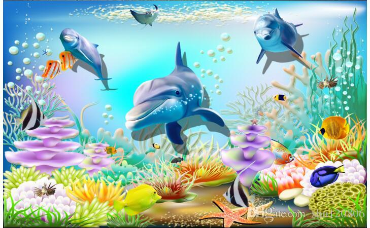 3d wallpaper custom photo non-woven mural Sea world dolphin for kids room decoration painting picture 3d wall room murals wallpaper