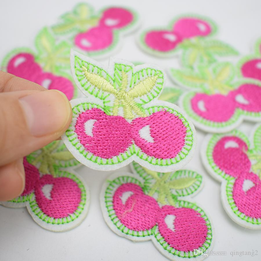 pink cherries embroidery patches for clothing iron patch for clothes applique sewing accessories badge stickers on cloth iron on patch