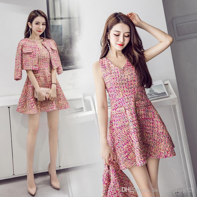 b226ac26d1e5 2019 New Korean Fashion Women S Lurex Shinny Pink Color Tweed Woolen ...