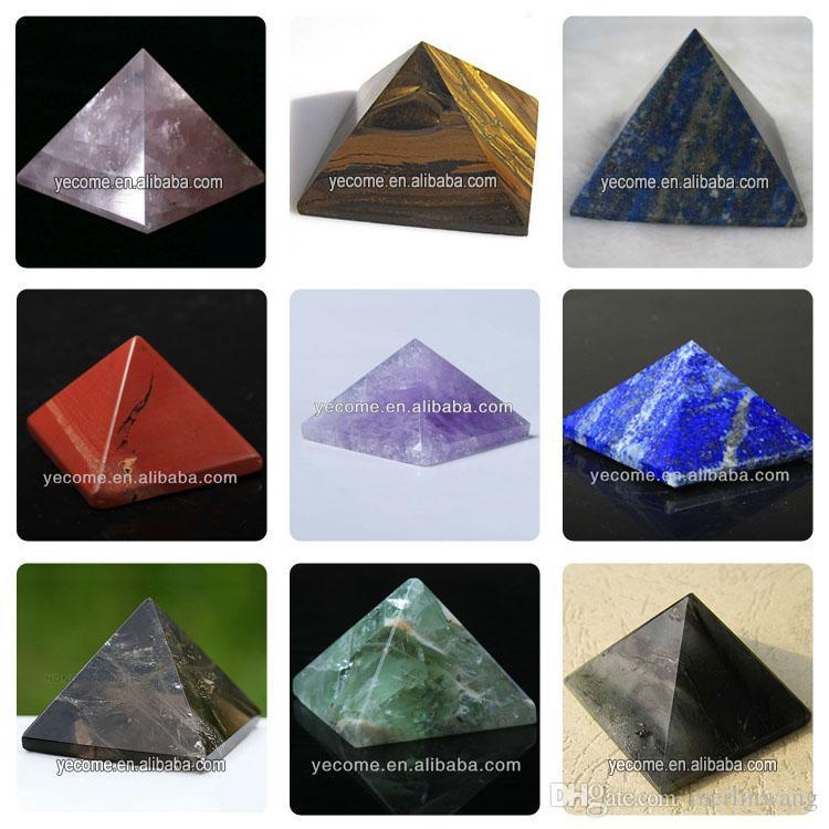 Wholesale HJT 82g Natural red fused crystal pyramid nunatak Reiki Healing fused crystal quartz pyramid decoration 32mm-52mm
