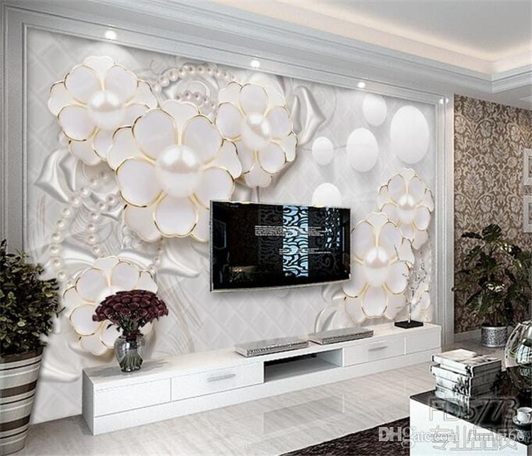Custom Photo Wallpaper Wall Stickers Large Murals Holy White Luxury Jewelry  Flowers Living Room Tv Papel De Parede Hd Pictures For Wallpaper Hd  Resolution ... Part 36