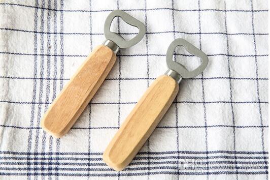 Cabo de madeira de aço inoxidável ferramentas de barra de abridor de garrafa de cerveja de vinho tinto