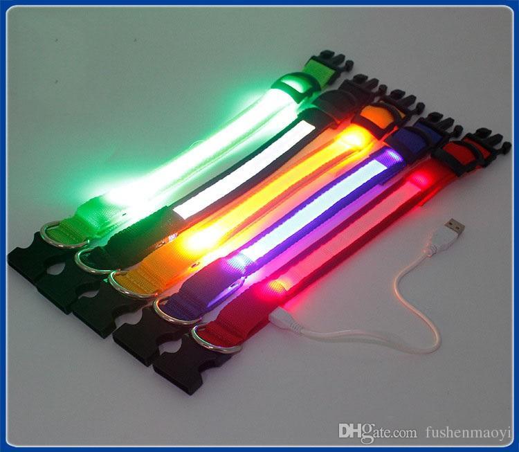 2016 nouveau chien fournitures USB LED collier de chien sangle batterie rechargeable 3 tailles 6 couleurs livraison gratuite