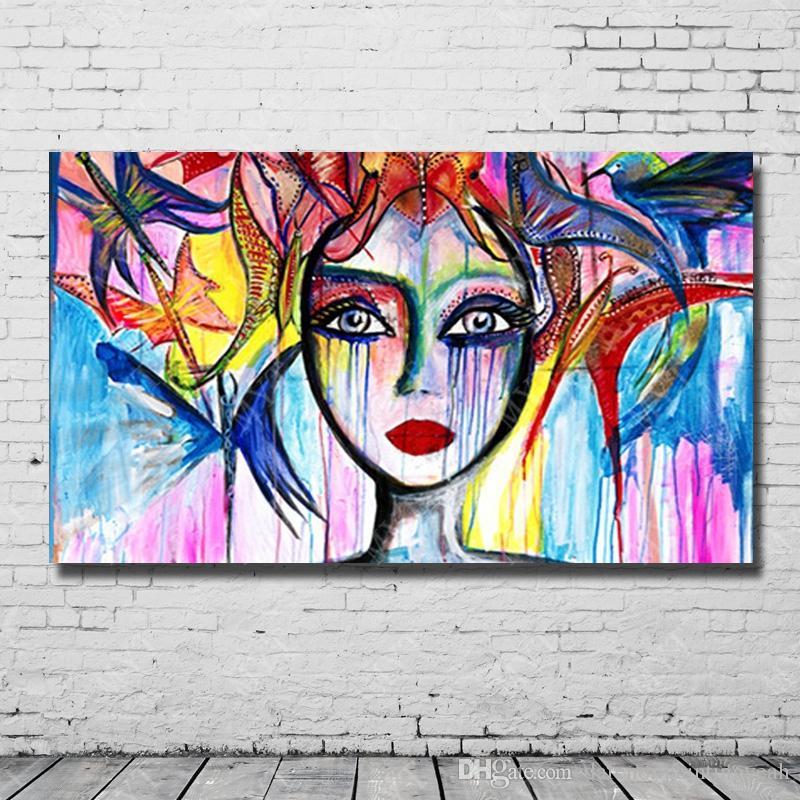 Großhandel Handgemalte Bunte Frauen Gesicht Ölgemälde Moderne Wohnzimmer  Wand Dekor Malerei Auf Leinwand Abstrakte Mädchen Kunst Kein Gestaltet Von  ...