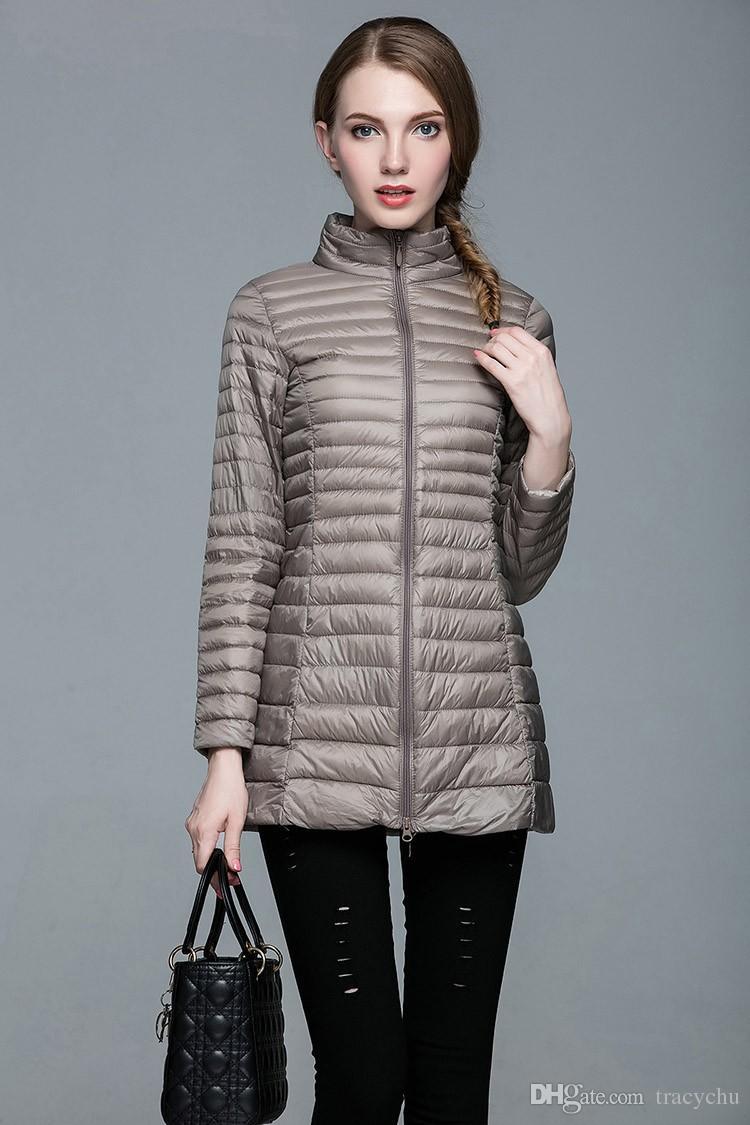 Diseñador Otoño Invierno 90% Pato blanco Abajo Chaqueta larga Abrigo femenino Ultra ligero Chaquetas sólidas delgadas Abrigo de invierno portátil Parka S-4XL