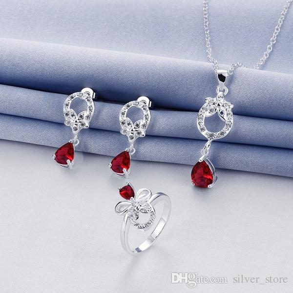 Wedding fashion 925 silver necklace earring ring a famliy of three jewelry three drop sets STSS091C sterling silver red gemstone rings