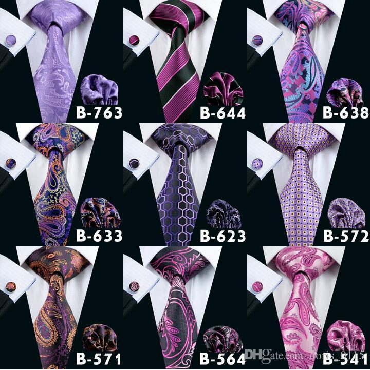 Fashion Mens Purple Wedding Active Party Ties High Quality Men Silk Neck Tie Set Include Tie Hanky & Cufflinks