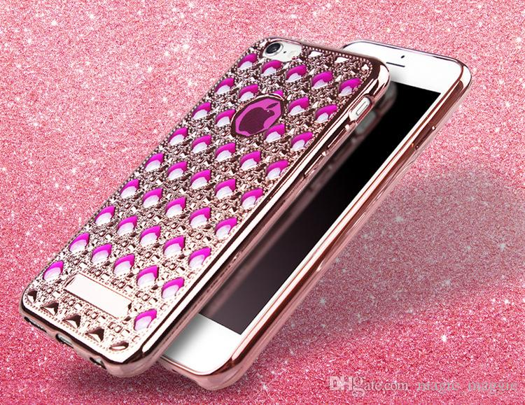 Luxury Bling Bling Glitter Rhombus Case Back Cover Electroplate Bumper Agate Pattern Cell Phone Cases Soft Cover for Iphone5 iphone6 6plus