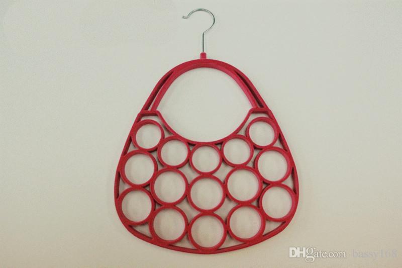 Nouveau sac à main velours cintre pour écharpe cravate clé de ceinture bijou cintres en plastique 5 couleurs