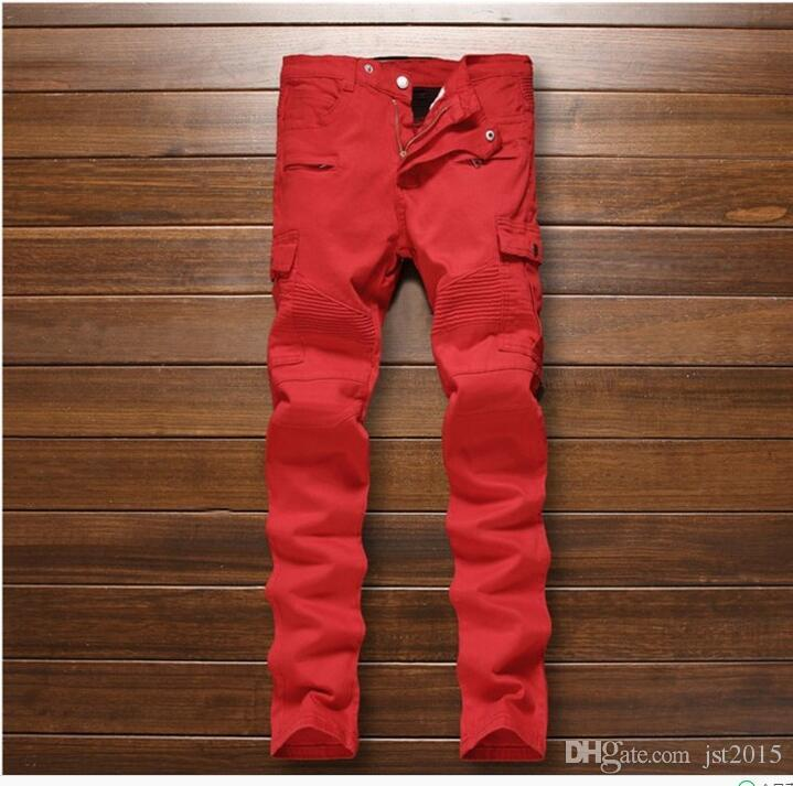f9f3558f Men's fashion red pockets biker jeans Male casual patchwork pleated skinny  stretch denim pencil pants Long trousers