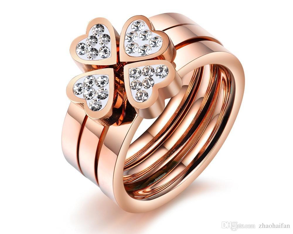 Cristal bijoux femmes anneau rose plaqué or doigts grand anneau pour femmes mariage bague de fiançailles bague multicouche en gros GJ420