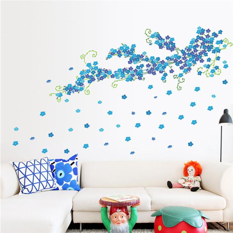 Free Shipping PVC TV Backdrop Large Blue Plum Flowers Wall Stickers Bedroom  Living Room Sofa Backdrop Home Decoration Removable Part 64