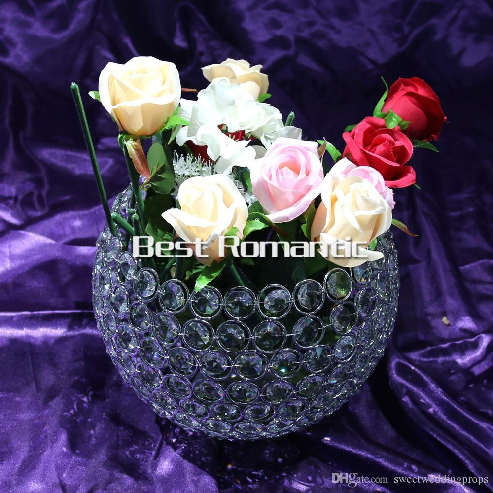 10cm biggiest diameter New Arrival glass crystal ball Candlestick wedding party table decoration shiny silver finish wedding candle holder
