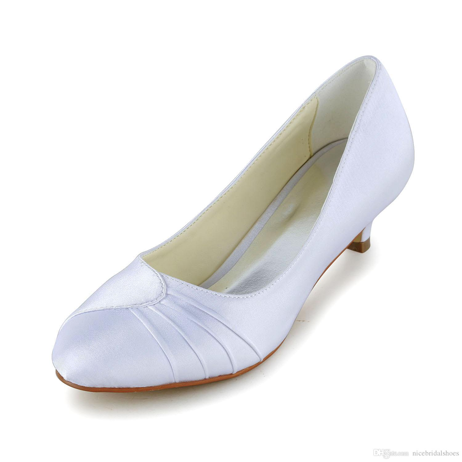 Little Heel Round Toe Wedding Dress Shoe Bridal Shoes Handmade For From Size35 41 Extra Wide Gina