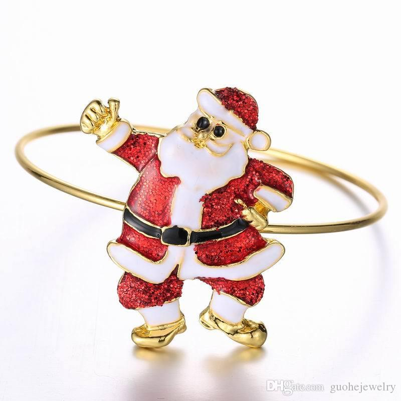 Bracelets for women personalized Santa Claus Alloy bangles carton gold plated bangle gifts for christmas
