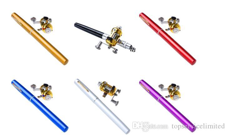Portable Pocket Telescopic Mini Fishing Pole Aluminum Alloy Pen Shape Fishing Rod With Reel Wheel