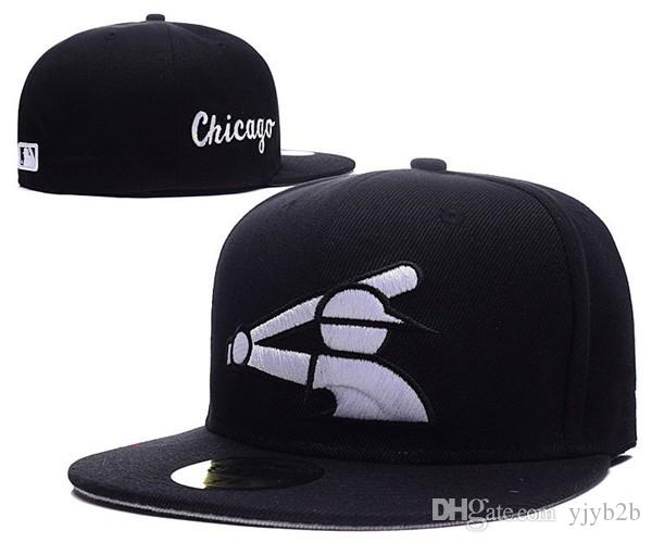 adec09f96 2018 New White Sox Fitted Baseball Hats In Full black Color Old School Flat  Brim Cheap Sports Team Closed Caps Bones Sports Gorra One Piece
