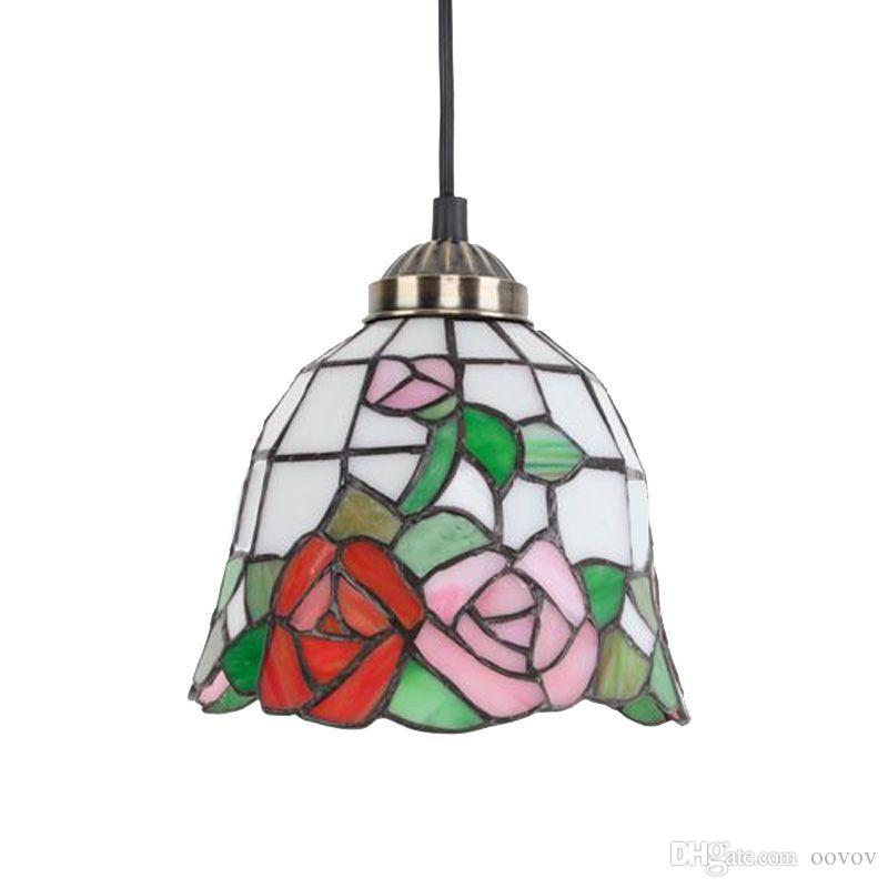 Classic Vintage Rose Bar Lámpara colgante Pastoral Tiffany Comedor Lámparas colgantes Pasillo Balcón Luces colgantes