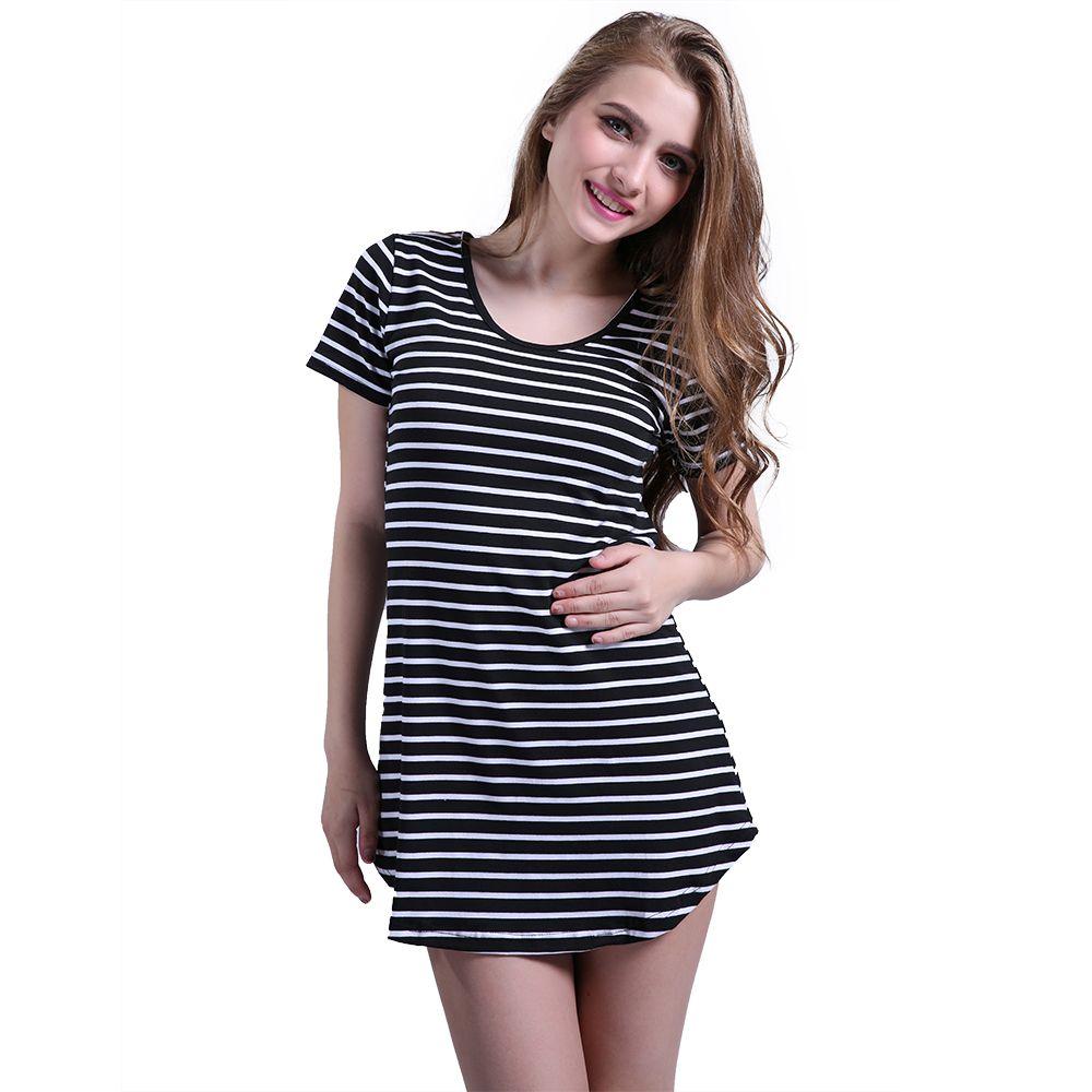 abea6e51ef 2016 Black White Elegant Women Shirt Dress Top Tee Summer Short Sleeve  Stripes Loose Casual Jersey Mini Shift Dresses Shirt Formal Evening Dresses  Womens ...