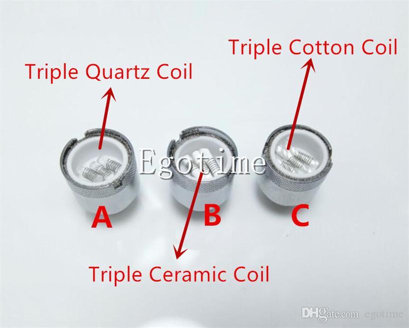 Triple Quartz Ceramic Rod Coil of D Core Wax Atomizer vaporizer Wax pen  Double Core Head Rod D Core RDA vs dual coil E Cigarette Atomizer