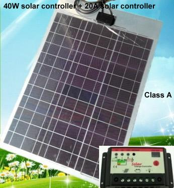 100% Class A 40W/12V flexible monocrystalline solar panel + 20A solar  controller, for outdoor Diy,Car,Boat,charger