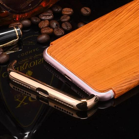 Custodia rigida in legno PC in legno 3 parti di lusso Iphone 7 Plus Iphone7 I7 Custodia rigida in pelle metallizzata cromata telefono IPhone 3 in 1