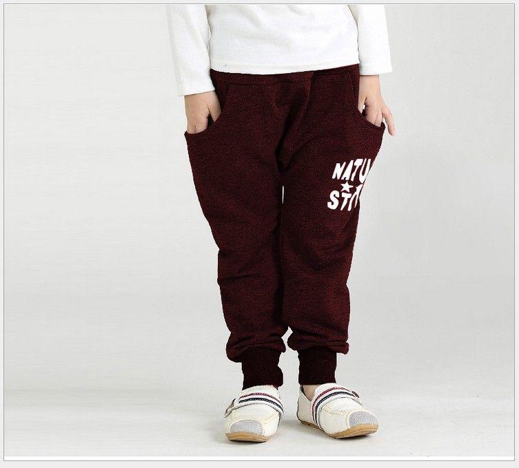 Retail 2016 Autumn New Big Boys Harem Pants Children Letters Printed Harem Pants Kids Cotton Warm Casual Pants Boy Leisure Trousers