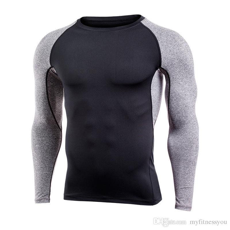 Acheter Marque Hommes Séchage Rapide Compression T Shirt Manches Longues Formation  Tshirt Fitness Vêtements Imprimer Bodybuilding Gym Athlétique Exercice ... d3c6fd88872