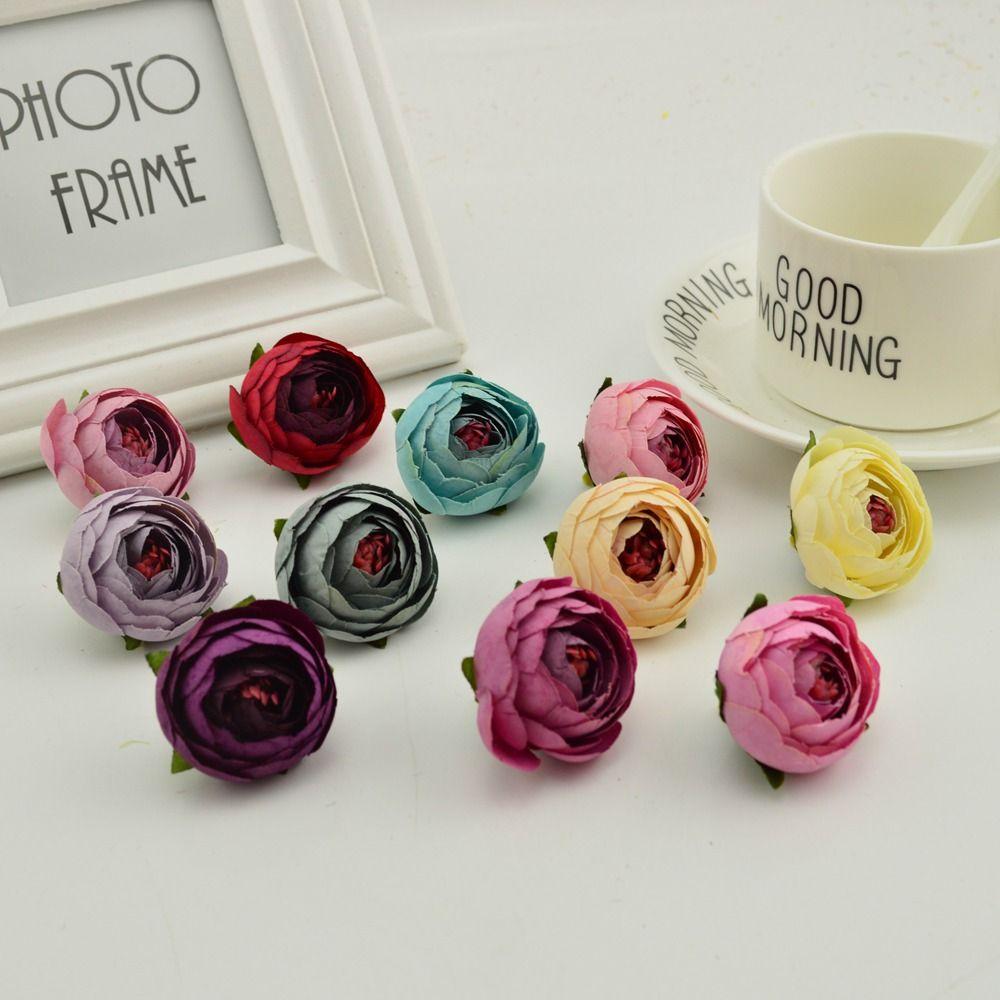 Wholesale 4cm Small Tea Bud Artificial Flowers Cheap Silk Rose Heads